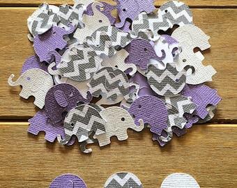 Purple and Gray Elephant Confetti, Purple Elephant, It's a Girl, elephant decoration, elephant baby shower, baby shower confetti