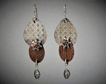 Item 4200-29 Handcrafted Sterling Silver and Copper Abstract Textured Lightweight Tear drop Ladybug Dangle Earrings
