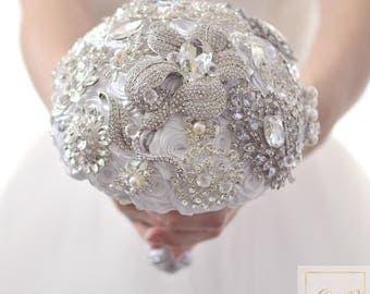 Wedding Jewelry Bouquet for Bride Wedding Brooch Bouquet White Bouquet Crystal Bouquet Vintage Silver Bouquet Keepsake Bouquet Wedding Band