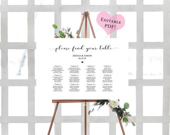 Rehearsal dinner sign rehearsal dinner decorations rehearsal diy seating chart printable wedding chart rustic seating plan seating chart wedding template pronofoot35fo Images