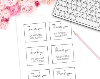 """Printable Mini Thank You Cards (6 Per Sheet / Unlimited Printing) 8.5"""" x 11"""" DIGITAL DOWNLOAD Small Business    Thank You For Shopping"""