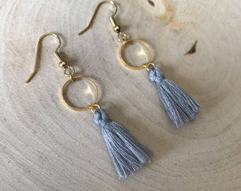 Gray tassel and gold connector earrings