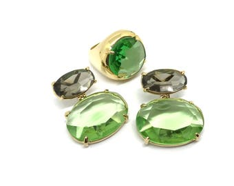 Peridot and Prasiolite in 18k Gold Filled Jewelry Set - Ring Size 8.5