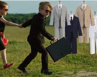 Boys 5-Piece Suit, Jacket Vest Shirt Tie Pants, Black Grey Navy Beige White, Baptism Christening Homecoming Prom Wedding Ring Bearer