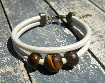 Men's Tiger eyes beaded leather bracelet, White leather gemstone cuff