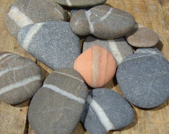 12 sea pebbles with white veins-Striped stones-Eco-friendly supplies for crafts-Pebble art