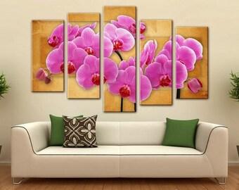 Canvas Art, Interior Art, Living Room Decor, Flower Art, Wall decor 5 Panel Canvas,  Photo Print on Canvas, Orchid beautiful flowers