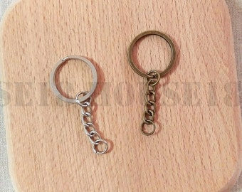 70 Key Ring with Chain Flat Split Ring DIY Key Chain | Antique Brass Bronze / Silver