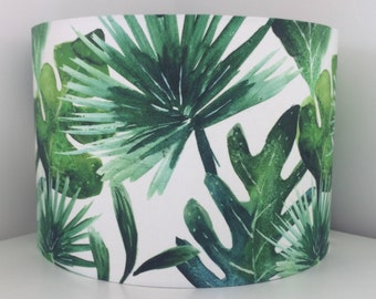 Hand made rolled-edge 'Botanical Palm' fabric lampshade