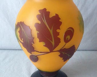 Cameo glass footed vase in a lovely autumn design