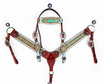 Western Horse Teal, Green Aztec Gator USA Wickett & Craig Leather Trail Show Bridle Headstall Breast Collar Tack Set