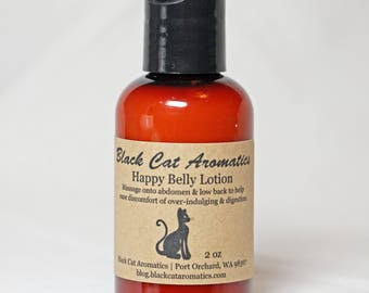 Happy Belly Massage Lotion, 2 oz, Digestion Support Massage Lotion, Natural Remedy, Organic Lotion with Essential Oils