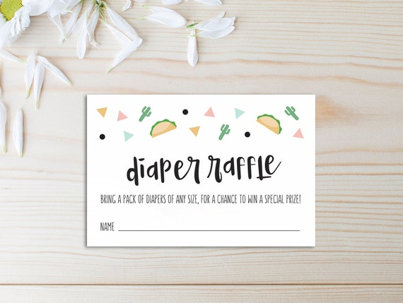 diaper raffle card  taco bout a baby  fiesta baby