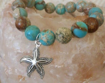 Starfish bracelet, Regalite bracelet, Gemstone jewelry, turquoise bracelet, beach wedding braclet