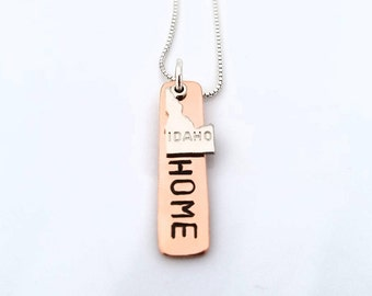 Idaho Necklace, Idaho Home Copper Necklace, Idaho State Charm Necklace