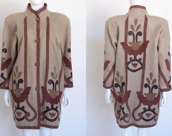 Women's Vintage Coat, Mohair Leather Coat, Kid Mohair, Lambs Leather, 80's Coat, 80's Jacket, 80's Vintage Clothing, Medium, Large,
