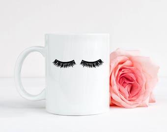 Makeup Mug, Eyelashes Mug, Eyelashes Cup, Fashion mug, Glam coffee mugs, Glam coffee cups, Mug for her Makeup lover gift Makeup brush holder