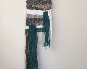 Woven Wall Hanging - Turquoise, green, grey & white