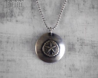Sand Dollar  Necklace - Silver Sanddollar Pendant - Domed Sanddollar Necklace - Sanddollar Jewellery