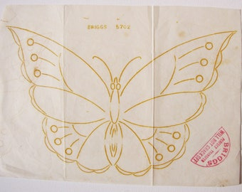 vintage iron on embroidery transfer - circa 1915 butterfly for dark fabrics - unused wax transfer