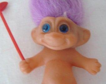 "1980's Vintage 2 1/2"" Mini Troll Holding Golf Club, Lavender Hair, Blue Eyes, MADE IN KOREA"