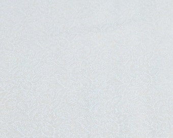 White on White-Leaves Cotton Fabric