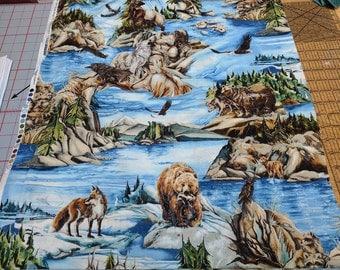 North American Wildlife 3-Animals Cotton Fabric from Robert Kaufman Fabrics