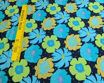Blue and Green Flower Cotton Fabric