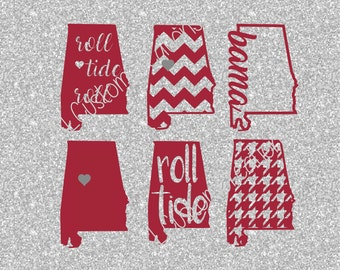 Alabama SVG, eps, DXF, png Cut Files for Silhouette, Cricut, Vectors, Digital Download, Bama, Roll Tide, Football, College, State Shapes, 6