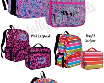 Watercolor Ponies Pink Personalized Backpack and Lunch Box Back to School Watercolor Ponies in Pink Backpack