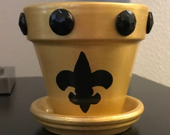 Black and Gold Fleur de lis Flowerpot