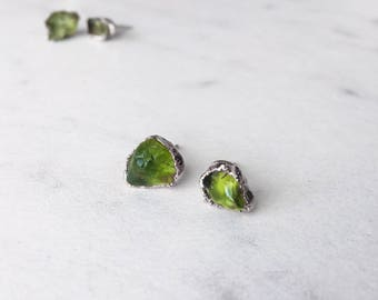 Peridot Stud Earring, Sterling Silver, Rough Peridot Studs, Raw Peridot Studs, Peridot Stud Set, Gold Peridot Earrings, Gold Peridot Studs