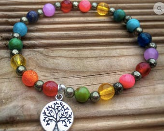 Bracelet 7 chakras tree of life