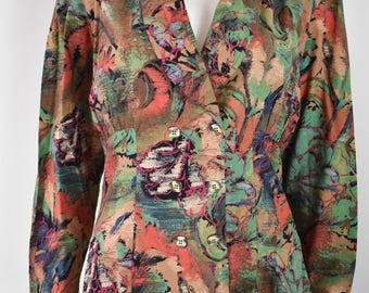 Vintage 80s Abstract Double Breasted Blouse