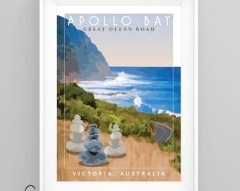 GREAT OCEAN Road, Victoria, Australia Vintage Travel Poster, A4/A3 Print, Custom Options.