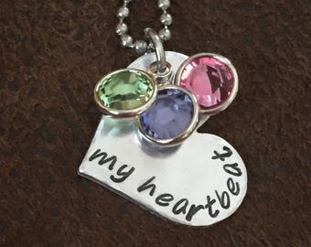 """hand stamped """"my heartbeat necklace"""" with children's birthstones, personalized mom birthstone necklace, Mother's Day, Christmas gift"""