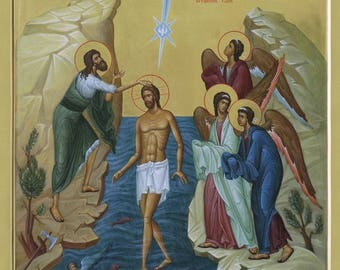 Epiphany, The Baptism of Our Lord Jesus Christ Byzantine orthodox icon egg tempera