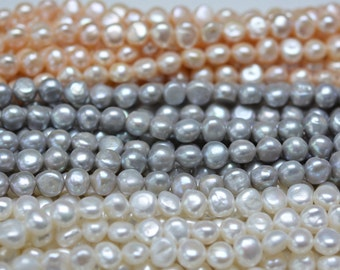 5-12mm one fat side baroque pearls necklace strand