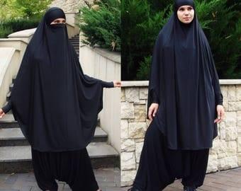 Black Franch khimar suit, Muslim sport suit, Harem pants, Islamic dress, Stylish Sport Hijab, Gray Niqab, Boho Pants, Afghani pants