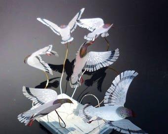 interior,art,object,sculpture,rare,bird,pigeon,dove,handmade,shabby chic,tabletop,display,desktop,accessory,white,nature,animal