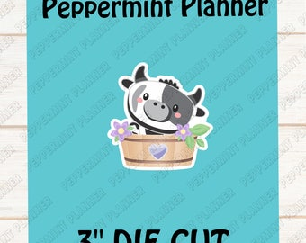 Die Cut Cute Little Cow in a Flower Pot ---DC03