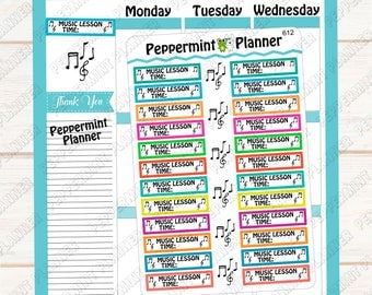 Music Lesson Planner Stickers --- Reminder --- Tracker --- 612