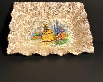 Vintage Porcelain Dish Crinoline Lady, James Kent Old Foley