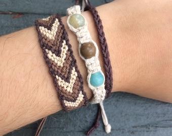 Earth Tones Set of 3 Braided/Woven Bracelets