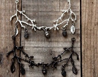 Witchy necklace, nature inspired, strega fashion, witch style, elven necklace, branch necklace, occult jewelry, dark style, gothic necklace