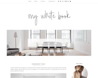 50% OFF NEW! My white book Blogger Template - Responsive Blogger Template - Feminine Blogger Template - Minimalist Template-Blogger Template