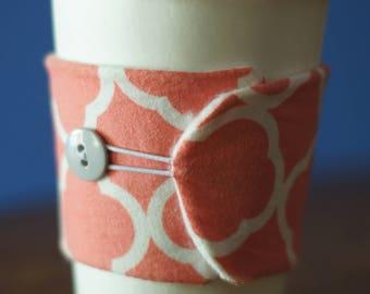 Coffee Cozy - Quatrefoil Print, Pink Quatrefoil, Quatrefoil Coffee Cozy, Coffee Sleeve, Drink Accessory, Quatrefoil Mug Cozy, Mug Cozy