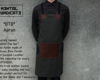 """Canvas """"BTB"""" Apron  Bartender Apron  Barista Apron  Barber Apron  Chef Apron  Canvas Apron  Custom Apron Made to order from 7 to 10 Days"""