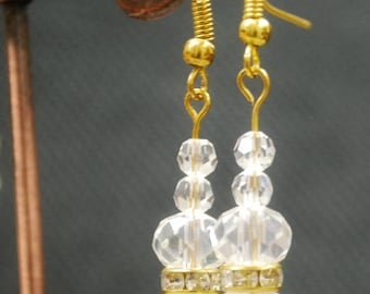 Austrian Crystal and Gold Wire Earrings