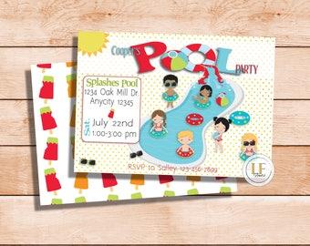 Mixed Pool Party Invitation
